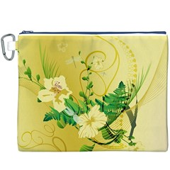 Wonderful Soft Yellow Flowers With Leaves Canvas Cosmetic Bag (XXXL)