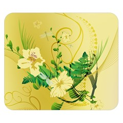 Wonderful Soft Yellow Flowers With Leaves Double Sided Flano Blanket (Small)