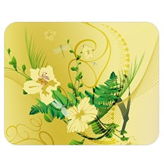 Wonderful Soft Yellow Flowers With Leaves Double Sided Flano Blanket (Medium)