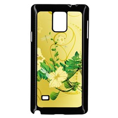 Wonderful Soft Yellow Flowers With Leaves Samsung Galaxy Note 4 Case (black)