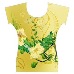 Wonderful Soft Yellow Flowers With Leaves Women s Cap Sleeve Top