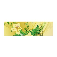 Wonderful Soft Yellow Flowers With Leaves Satin Scarf (Oblong)