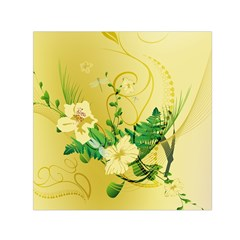 Wonderful Soft Yellow Flowers With Leaves Small Satin Scarf (Square)