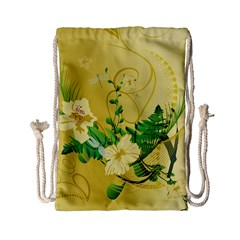 Wonderful Soft Yellow Flowers With Leaves Drawstring Bag (Small)