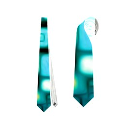 Teal Squares Neckties (one Side)