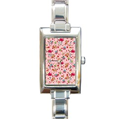 Red Christmas Pattern Rectangle Italian Charm Watches