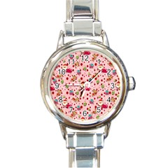 Red Christmas Pattern Round Italian Charm Watches
