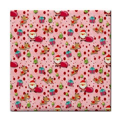 Red Christmas Pattern Tile Coasters