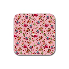Red Christmas Pattern Rubber Coaster (Square)