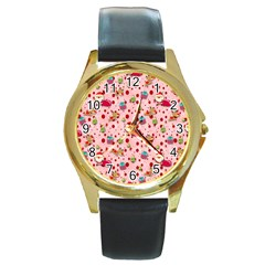 Red Christmas Pattern Round Gold Metal Watches