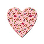 Red Christmas Pattern Heart Magnet Front