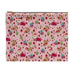 Red Christmas Pattern Cosmetic Bag (XL)