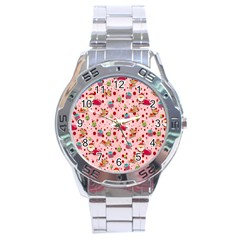 Red Christmas Pattern Stainless Steel Men s Watch