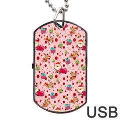Red Christmas Pattern Dog Tag USB Flash (One Side)