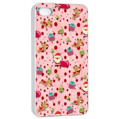 Red Christmas Pattern Apple iPhone 4/4s Seamless Case (White)