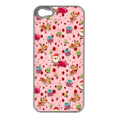 Red Christmas Pattern Apple iPhone 5 Case (Silver)