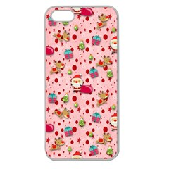Red Christmas Pattern Apple Seamless iPhone 5 Case (Clear)