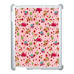 Red Christmas Pattern Apple iPad 3/4 Case (White)