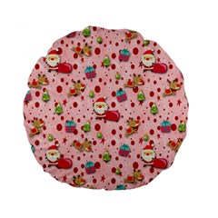 Red Christmas Pattern Standard 15  Premium Round Cushions