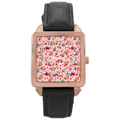 Red Christmas Pattern Rose Gold Watches
