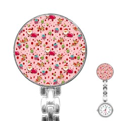 Red Christmas Pattern Stainless Steel Nurses Watches