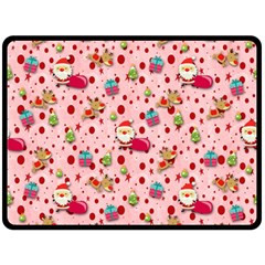 Red Christmas Pattern Double Sided Fleece Blanket (large)