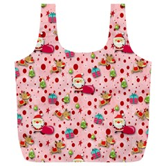 Red Christmas Pattern Full Print Recycle Bags (L)
