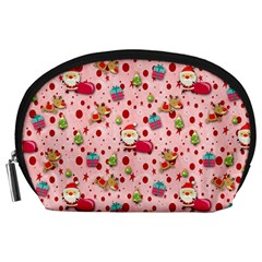 Red Christmas Pattern Accessory Pouches (large)
