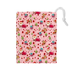Red Christmas Pattern Drawstring Pouches (Large)