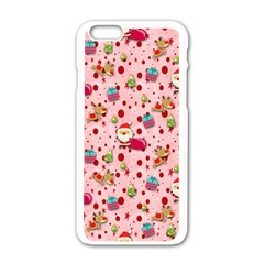 Red Christmas Pattern Apple Iphone 6/6s White Enamel Case