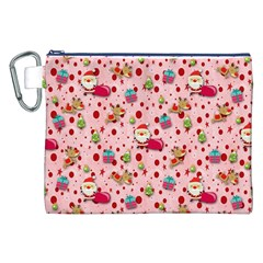 Red Christmas Pattern Canvas Cosmetic Bag (XXL)