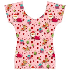 Red Christmas Pattern Women s V-Neck Cap Sleeve Top