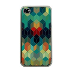 Colorful Modern Geometric Cubes Pattern Apple Iphone 4 Case (clear)