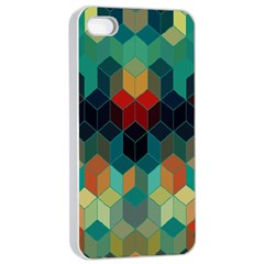 Colorful Modern Geometric Cubes Pattern Apple Iphone 4/4s Seamless Case (white)