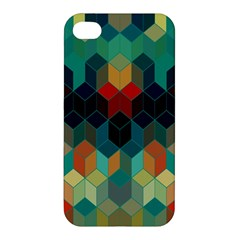 Colorful Modern Geometric Cubes Pattern Apple iPhone 4/4S Premium Hardshell Case