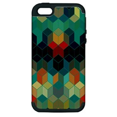 Colorful Modern Geometric Cubes Pattern Apple iPhone 5 Hardshell Case (PC+Silicone)