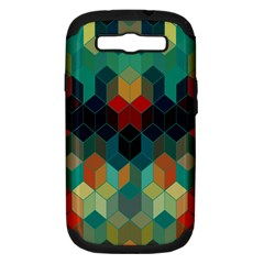 Colorful Modern Geometric Cubes Pattern Samsung Galaxy S III Hardshell Case (PC+Silicone)