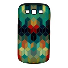 Colorful Modern Geometric Cubes Pattern Samsung Galaxy S III Classic Hardshell Case (PC+Silicone)