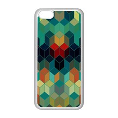 Colorful Modern Geometric Cubes Pattern Apple iPhone 5C Seamless Case (White)
