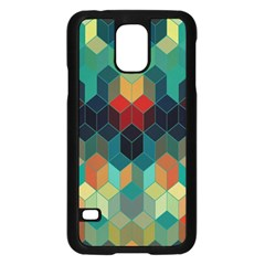 Colorful Modern Geometric Cubes Pattern Samsung Galaxy S5 Case (black)