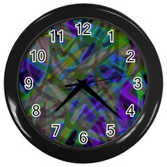 Colorful Abstract Stained Glass G301 Wall Clocks (Black)