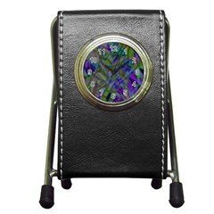 Colorful Abstract Stained Glass G301 Pen Holder Desk Clocks