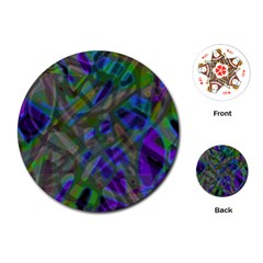 Colorful Abstract Stained Glass G301 Playing Cards (round)