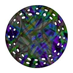 Colorful Abstract Stained Glass G301 Round Filigree Ornament (2Side)