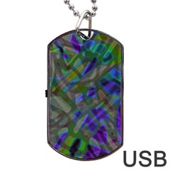 Colorful Abstract Stained Glass G301 Dog Tag USB Flash (One Side)