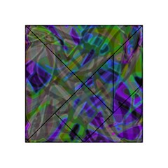 Colorful Abstract Stained Glass G301 Acrylic Tangram Puzzle (4  x 4 )