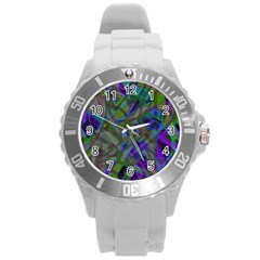Colorful Abstract Stained Glass G301 Round Plastic Sport Watch (L)