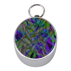 Colorful Abstract Stained Glass G301 Mini Silver Compasses