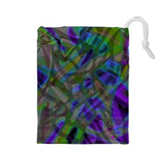 Colorful Abstract Stained Glass G301 Drawstring Pouches (Large)