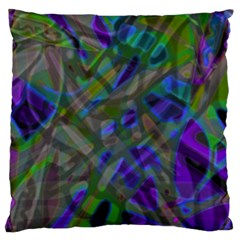 Colorful Abstract Stained Glass G301 Large Flano Cushion Cases (One Side)